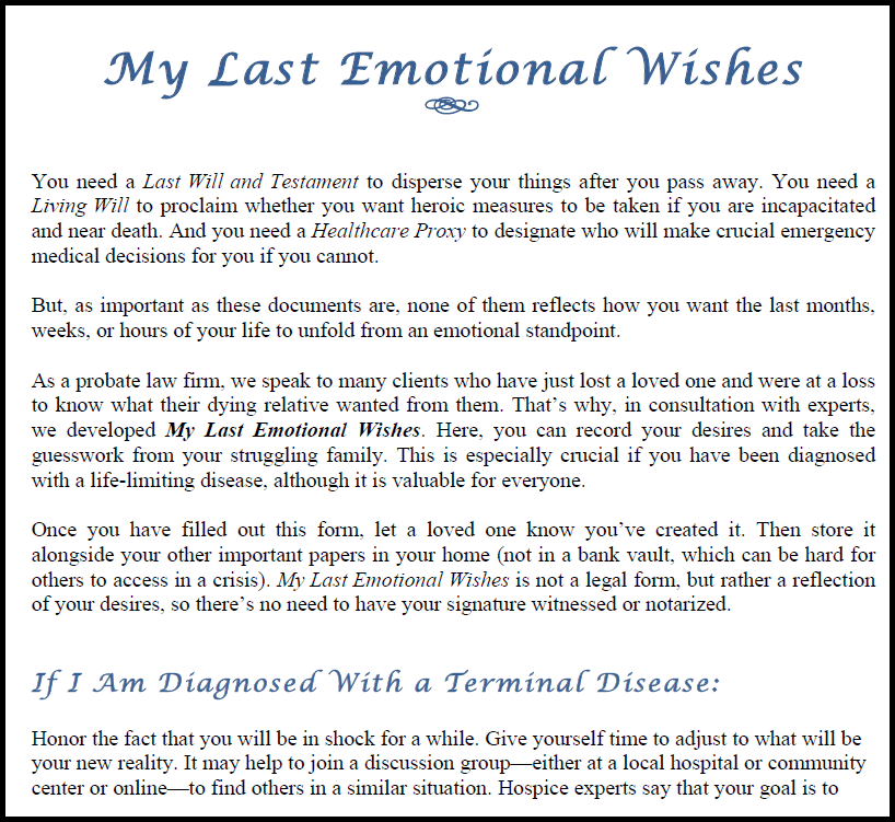 My Last Emotional Wishes